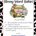 Strong Verbs and Adjectives Task Cards Posters