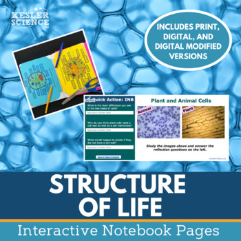 Structure of Life Interactive Notebook Pages - Cells, Body Systems & More