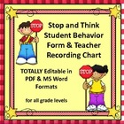 Student Behavior Reflection Form & Teacher Recording Chart