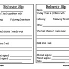 Student Behavior Slip