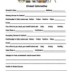Student Information Sheet - First Grade