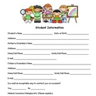 Student Information Sheet - Kindergarten