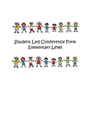 Student Led Conference Form - Elementary Level