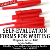 Student Self-Evaluation Forms Pack - Four Common Core Mode
