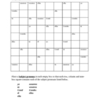 Subject pronouns in Spanish Sudoku
