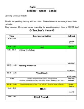 Substitute Lesson Plan Template (Easy & Organized)