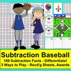 Subtraction Facts Math Center Activities Baseball-4 Ways t