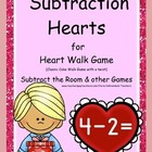 "Subtraction Hearts ""Cake Walk Style""  Write the Room and o"
