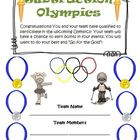 Subtraction Olympics Games, and Activities Common Core Standards