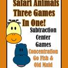 Subtraction Safari Animals Concentration, Go Fish and Old