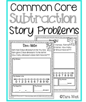 Subtraction Story Problems aligned to Common Core