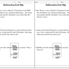 Subtraction WP Exit Slip