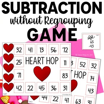 Subtraction without Regrouping Game- Heart Hop