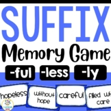 Suffix Match Up Game with Recording Sheet (less, ly, ful)