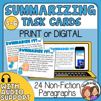 Summarize It! Task Cards: Informational Text Paragraph Cards, CCSS Aligned
