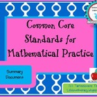 Summary of Common Core Standards for Mathematical Practice