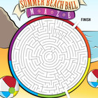 Summer Beach Ball Puzzle Maze - End of the Year Puzzle