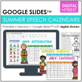 Summer Homework Calendars for Speech {Articulation, Langua