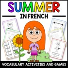 Summer in French - vocab. sheets, worksheets, matching & b