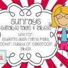 Sunrays Editable Tags & Labels {Classroom Printables} Back