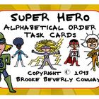 Super Hero Alphabetical Order Task Cards