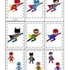 Super Heroes themed Memory Matching preschool learning gam