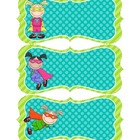 Superhero Nametags - Teal & Lime