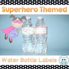 Superhero Themed Water Bottle Labels