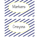 Supply Labels in Navy Sideways Stripe