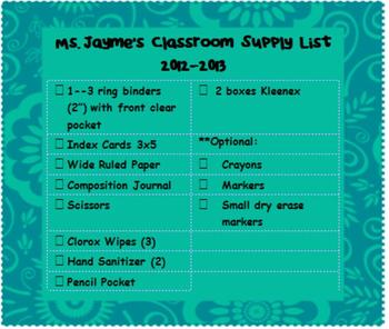 Supply List Magnet Template (editable)