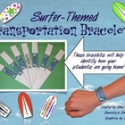 Surfer Themed Classroom Transportation Bracelets
