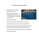 Swimming Pool Problem-Area and Volume