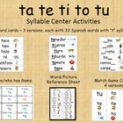 Syllable Centers - ta te ti to tu