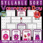 Syllable Sort Valentine's Day Themed Center Game for Common Core