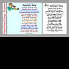 Synonym Song - printout & Smartboard files