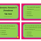 Synonyms, Antonyms & Homophones Task Cards