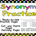 Synonyms Practice Pages - 2nd, 3rd Grade- Cut & Paste and