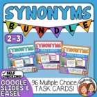 Synonyms Task Card Bundle: 96 Multiple Choice Cards for Gr