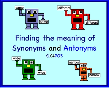 Synonyms or Antonyms Smartboard Lesson - Lessons