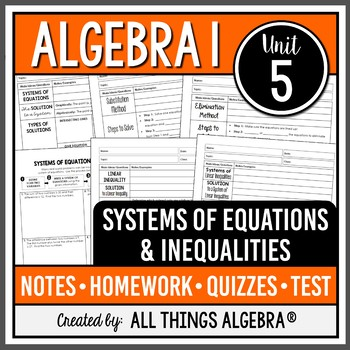 Systems of Equations & Inequalities - Notes, Homework, Quizzes, and Test Bundle!