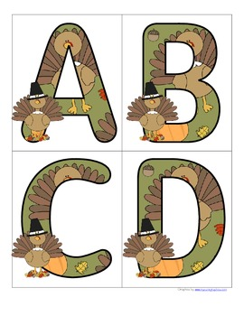 THANKSGIVING - Set of Large Alphabet Letters Upper and Low