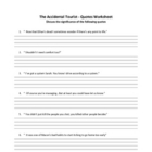 THE ACCIDENTAL TOURIST- QUOTES WORKSHEETS