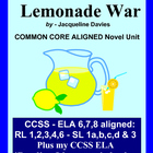 THE LEMONADE WAR Novel Unit:  Common Core Aligned