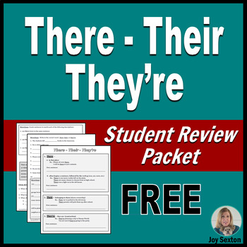 THERE-THEIR-THEY'RE Student-Ready Review Packet - ELA Freebie Grades 5-9