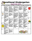 TK / Pre-K Transitional Kindergarten Monthly Homework Cale