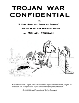 TROJAN WAR CONFIDENTIAL: Role Play Activity / Study Sheets