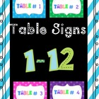 Table Numbers - 1- 12 Polka Dot Themed Printable