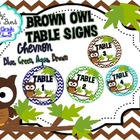 Table Signs Brown Owl Chevron CIRCLE