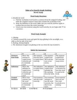 Tales of a Fourth Grade Nothing Spelling Vocabulary Activity List