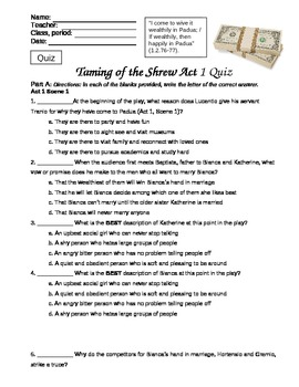 the taming of the shrew 5 essay Essay- the taming of the shrew in william shakespeare's play, the taming of the shrew, the shrew played by katherine, had a terrible.